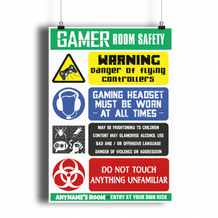 Site Safety Gamer Room Funny Personalised Bedroom A4 Poster Sign